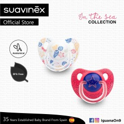 'Suavinex In The Sea Collection BPA Free 18+ Months Anatomical Soother Pacifier Set (Pink Sea Star + White Sea)'