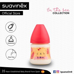 'Suavinex In The Sea Collection BPA Free 150ml Wide Neck Baby Feeding Bottle with Anatomical Teat (Pink Seal)'