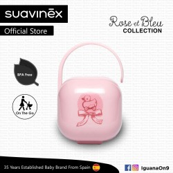 'Suavinex Rose and Blue Collection BPA Free Soother Pacifier Holder Box (Pink)'