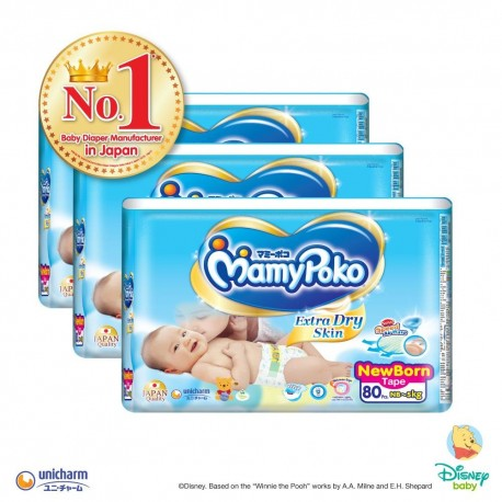 MamyPoko Extra Dry Skin Tape NB (0-5kg) 80 X 3 packs 240 Pcs