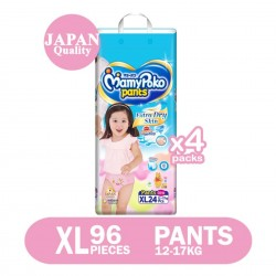 MamyPoko Extra Dry Skin Girl Pants XL (12-17kg) 24 X 4 packs 96 Pcs