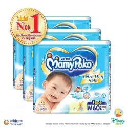 MamyPoko Extra Dry Skin Tape M (6-11kg) 60 X 3 pack 180 Pcs