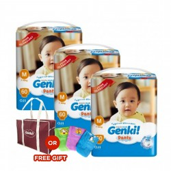 Genki! Pants MEGA M60 (3 Packs) (FREE Mamabag or Diaper Pouch)