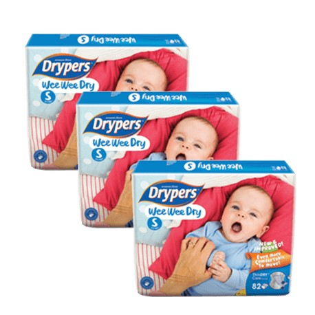 Drypers Wee Wee Dry Mega (S82) (3 Packs) + Free Shipping (Pen. Malaysia only)