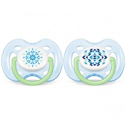 Philips Avent Contemporary Free Flow Soother 0-6M (2 Pieces) - Boy