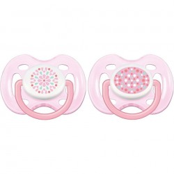 Philips Avent Contemporary Free Flow Soother 0-6M (2 Pieces) - Girl