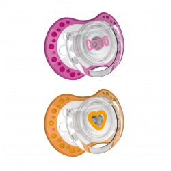 'Lovi 2Pcs Dynamic Soother (Spark) 0-3m - Pink  and  Orange'