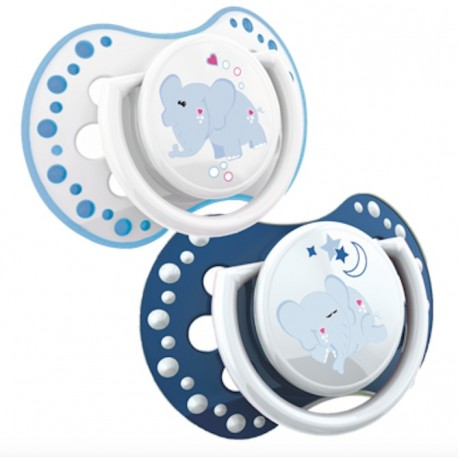 LOVI 2PCS DYNAMIC SOOTHER Glow in the dark(N&D) 0-3M-Blue  with glow in the dark