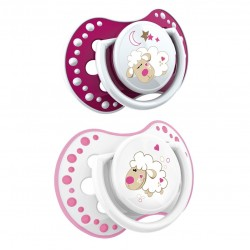 'Lovi 2Pcs Dynamic Soother Glow In The Dark (N and D) 3-6m - Pink With Glow In The Dark'