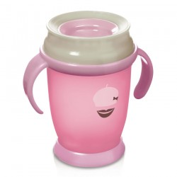 Lovi 360 cup RETRO with handles  (250 ml) JUNIOR - pink