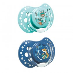 'Lovi Dynamic Soother Silicone 6-18 Months (2 Pcs) Folky-Blue'