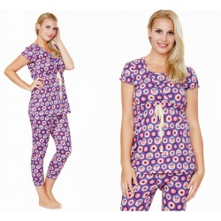 Mamaway Minnie Dot Pattern ​Maternity & Nursing Pajamas/ Sleepwear Set Baju Tidur - Purple