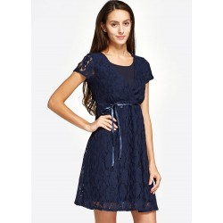 Mamaway Lace Cross-over Maternity & Nursing Dress (Navy)