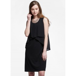 Mamaway Chiffon Layers Sleeveless Maternity & Nursing Dress (Black)