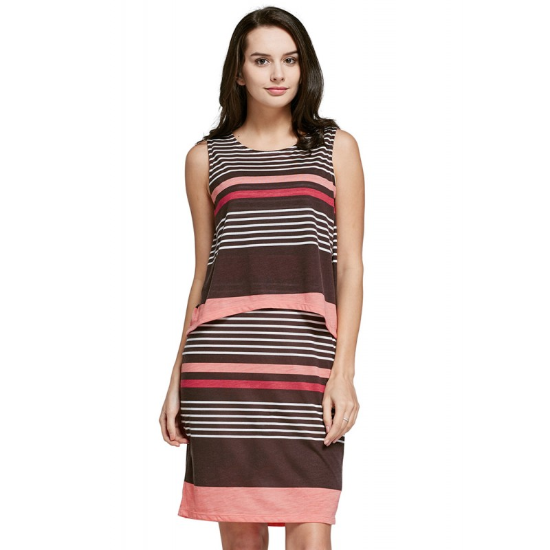 f42fd7825ee4fd Mamaway Stripe Sleeveless Double Layer Maternity   Nursing Dress (Coffee  Pink). Loading zoom