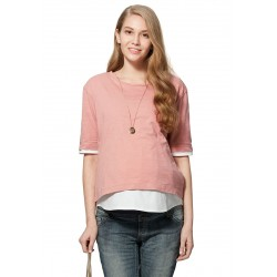 Mamaway 2 in 1 Cool Cotton Maternity & Nursing Top (Pink)