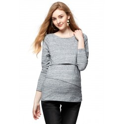 Mamaway Marble Maternity & Nursing Long Top (Blue)