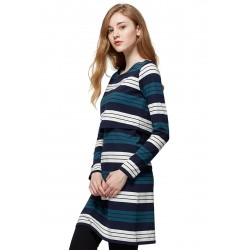 Mamaway Stripe Double Layer Maternity & Nursing Dress (Navy/Green)