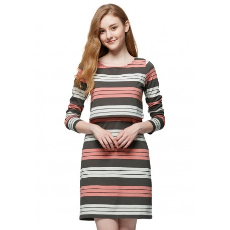 Mamaway Stripe Double Layer Maternity & Nursing Dress (Cream/Orange)