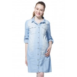Mamaway Maternity & Nursing Denim Shirt Dress (Blue)