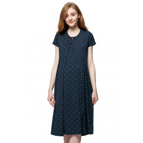 Mamaway Mickey Dotty Maternity   Nursing Pajama Dress (Navy)  430264081e