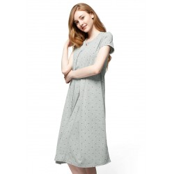 Mamaway Mickey Dotty Maternity & Nursing Pajama Dress (Grey)