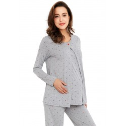 Mamaway Mickey Dotty Maternity & Nursing Pajamas / Sleepwear Set (Grey)