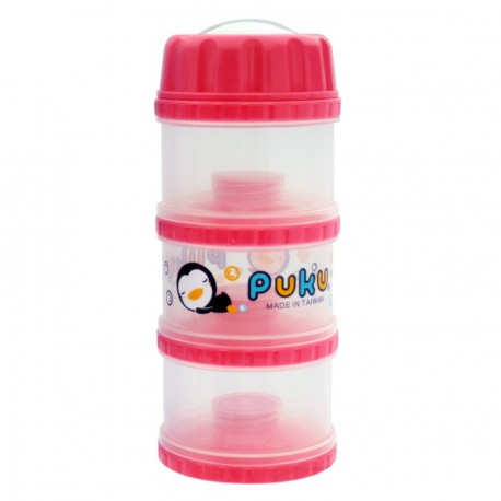 PUKU 3 Layers Extra Large Independet Milk Powder Dispenser Formula Baby Infant Container Portable Box Case 100ml Pink