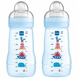 MAM Baby Bottle 270ml (Silk Teat size 2) -Twin Pack Blue