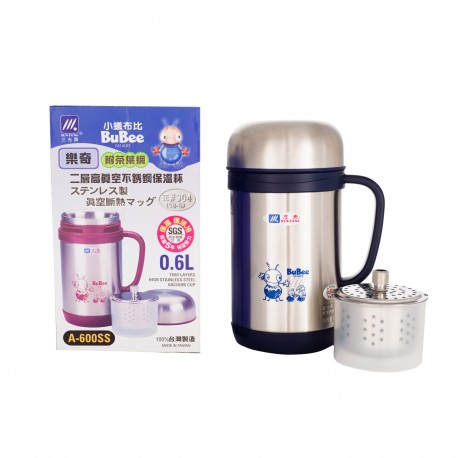 Bubee A-600SS 0.6L Vacuum Mug with Tea Filter & Cup (Blue)