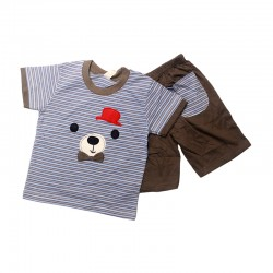 Pigeon Basic Boy Short Sleeve Tee & Bermuda Pants - Blue Stripe Bear FS