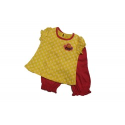Pigeon BB Girl Lantern Sleeve Long Pants Suit - Yellow Yeahh Duck