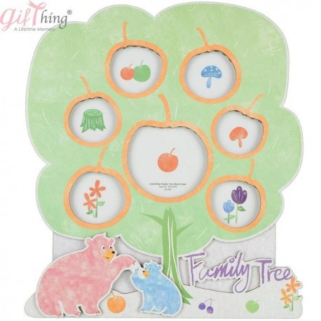 GIFTHING Joyful Bear Family Tree Photo Frame - for newborn birth party gift toddler baby