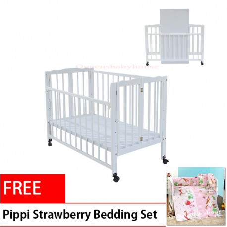 Royalcot R295 White Foldable Baby Cot Bed Wooden (White) + FREE Baby Bedding Set Strawberry (6 in 1)