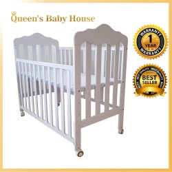 Royalcot R829 Multi Function Wooden Baby Cot (White) with Height Adjustable Layer