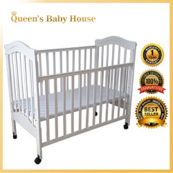 Royalcot R473 Multi Function Wooden Baby Cot (White Milky) with Height Adjustable Layer