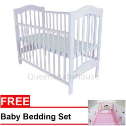 Royalcot R473 Baby Cot White + FREE PINK MINNIE MOUSE BEDDING SET