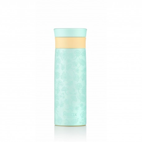 "Relax Bottles ""3D Transparent Flower"" Doodling Art 400ml 18.8 S/S Thermal Flask (Tiffany Blue)"