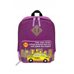 Nick & Nic Foldable Backpack Violet Purple - New York Taxi