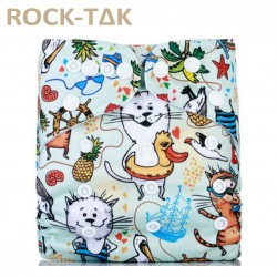 Rocktak Reusable Baby Cloth Diaper Cats in Water Ship Fossil Float (Exclusive print) + 1 microfiber insert