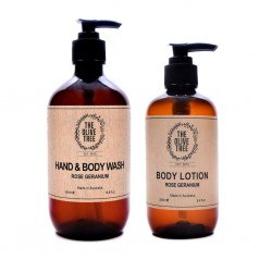 The Olive Tree Rose Geranium Body Care Set