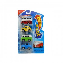 Cartoon Pull Back Metal Car, 4 Assorted Models In A Set
