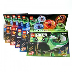 Pull Activated Ninja Series Spinning Top Mini Pack - Light Green
