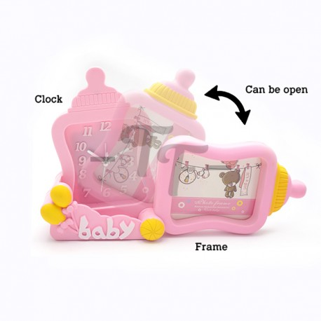 Toys Funtastic Home Decorative Milk Bottle Photos Frame With Clock - Pink