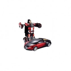 Toys Funtastic Die Cast Pull Back Car Transwarrior, One Press Instant Transform - Red