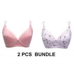 Trendyvalley Pregnancy/Nursing Maternity Bra Middle Button Closure Bra (2 Pcs Bundle)