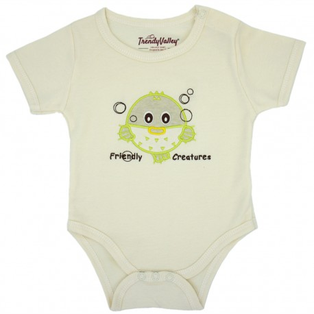 Trendyvalley Organic Cotton Rompers Short Sleeve Baby Shirt (Puffer Fish)