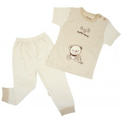 Trendyvalley Organic Cotton Short Sleeve Baby Shirt and Long Pants (Yummy Bear)