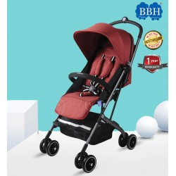 BBH Lightweight Stroller Compact One-Hand Fold Baby Stroller with 1 year Warranty (Red)