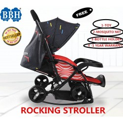 BBH Rocking Stroller with Free 3 Accessories and 1 Year Warranty (Red)